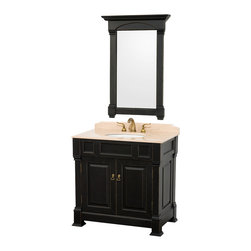 Wyndham Collection - Andover Vanity in Antique Black, Ivory Marble Top, White UM Sink - A new edition to the Wyndham Collection, the beautiful Andover bathroom vanity series represents an updated take on traditional styling. The Andover is a keystone piece, with strong, classic lines and an attention to detail. The vanity and solid marble countertop are hand carved and stained. Available in Black, White and Dark Cherry finishes to match any decor. Available in a range of single or double vanity sizes to fit any bathroom.