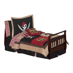 Sweet Jojo Designs - Pirate Treasure Cove Toddler Bedding Set (5-Piece) - The Pirate Treasure Cove 5-Piece toddler bedding set by Sweet jojo designs, features a collection of appliques from the sea including pirates, ships, treasure chests, swords, and helms. This set uses a color combination of black, brick red, camel, and chocolate. It uses striped and solid cotton fabrics combined with rich micro suede. This wonderful set will fit all crib and toddler beds.