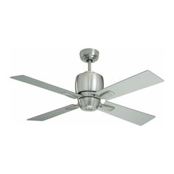 Emerson - Emerson Veloce Ceiling Fan in Brushed Steel - Emerson Veloce Model CF230BS in Brushed Steel with Reversible Brushed Steel (painted)/Chocolate Finished Blades.