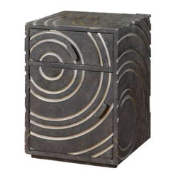 Uttermost Toma Modern Side Table - Contemporary storage table with silver circles carved into a tarnished pewter finish. Contemporary storage table with silver circles carved into a tarnished pewter finish.