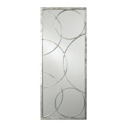Kathy Kuo Home - Nikita Hollywood Regency Silver Leaf Circle Motif Mirror - Looking to create a sense of light and air, using the most refined modernist approach?  Here's your mirror, accented in gold leaf orbs which seem to echo ripples on water.  Beautiful, functional, and just right.