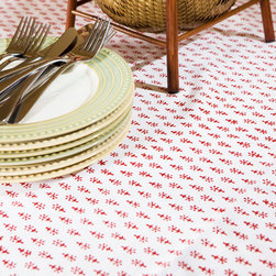 Attiser - Country Table Linens - Classic Crimson table cover, you'll love the feel of cotton at your fingertips and the red and white Indian motif. It's a great decorative accent for your dining room. Hand Block Printed from Attiser