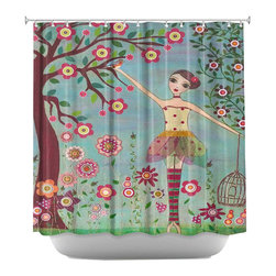 DiaNoche Designs - Shower Curtain Artistic - Letting Go - DiaNoche Designs works with artists from around the world to bring unique, artistic products to decorate all aspects of your home.  Our designer Shower Curtains will be the talk of every guest to visit your bathroom!  Our Shower Curtains have Sewn reinforced holes for curtain rings, Shower Curtain Rings Not Included.  Dye Sublimation printing adheres the ink to the material for long life and durability. Machine Wash upon arrival for maximum softness on cold and dry low.  Printed in USA.