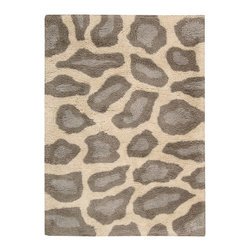 """Nourison - Nourison Splendor SPL18 2'3"""" x 3'9"""" Beige Area Rug 01147 - A fabulous giraffe motif turns this thick, rich shag into a design accent that's spot-on for casual elegance! Gorgeously textural and delightfully playful, it's the perfect way to express your animal instincts. Soft beige/taupe color scheme is at home in all types of decor."""