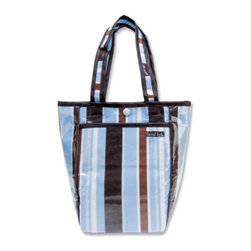 """Trend Lab - Diaper Bag - Max Mini Tote - Trend Lab's Mini Tulip Tote is the perfect on-the-go accessory for quick outings where a large diaper bag is unnecessary. It's perfect for short shopping trips and can hold a bottle, diapers, wipes and other small necessities! Or use this wonderful bag as a toy bag, beach bag, lunch tote, or cosmetic bag. This Mini Tulip Tote allows you to conveniently pack the essentials and go!. Max Stripe Mini Tulip Tote features variegated stripes in sky blue, caramel, and chocolate with a blue and chocolate polka dot print trim and lining. Bag features a laminated exterior for easy clean up and durability, a snap closure and one exterior pocket. Bag measures 7"""" x 9 1/2 """" x 4"""" and features two handles measuring 16 1/2 """" in length."""