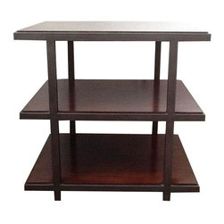 Used Restoration Hardware Wood & Metal End Table - A beautiful and sophisticated Restoration Hardware end table with an industrial edge. The table is functional as a side table next to a sofa or chair, a bedroom nightstand or a petite bookcase.     The unit features three natural wood shelves., bronzed metal supports and metal rails and posts (1 inch wide and deep). The wood shelves are exposed a quarter inch above the metal rail.     The table was purchased from Restoration Hardware. There are some minor nicks and scratches on the top shelf from normal usage.