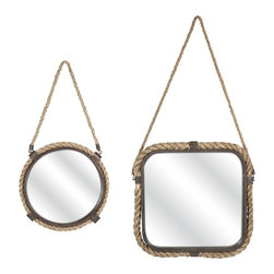"IMAX CORPORATION - Molyneux Jute and Metal Mirrors - Set of 2 - The jute frames and hangers on the Molyneux mirrors make them perfect for a casual coastal setting. Simple and understated, these mirrors will add depth and reflected light into your room without drawing attention from your favorite accessories.  Set of 2 mirrors measuring 30""H x 16""W x 1.25""L and 37""H x 18""W x 1.25""L each. Find home furnishings, decor, and accessories from Posh Urban Furnishings. Beautiful, stylish furniture and decor that will brighten your home instantly. Shop modern, traditional, vintage, and world designs."