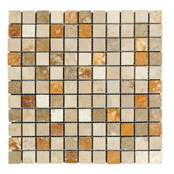 STONE TILE US - Stonetileus 10 pieces (10 Sq.ft) of Mosaic -Mix 1x1 Tumbled - STONE TILE US - Mosaic Tile - Mix 1x1 Tumbled Specifications: Coverage: 1 Sq.ft size: 12x12 - 1 Sq.ft/Sheet Piece per Sheet : 121 pc(s) Tile size: 12x12 Tile thickness: 3/8 Sheet mount:Meshed back Stone tiles have natural variations therefore color may vary between tiles. This tile contains mixture of gold - light brown - dark brown - yellow - ivory - and color movement expectation of high variation, The beauty of this natural stone Mosaic comes with the convenience of high quality and easy installation advantage. This tile has Tumbled surface, and this makes them ideal for floor, walls, kitchen, bathroom, Sheets are curved on all four sides, allowing them to fit together to produce a seamless surface area. Recommended use: Indoor - High traffic - Low traffic - Recommended areas: Mix 1x1 Tumbled tile ideal for floor, walls, kitchen, bathroom,Free shipping.. Set of 10 pieces, Covers 10 sq.ft.
