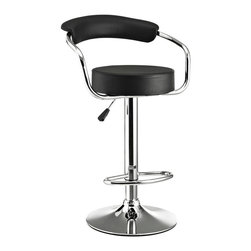 Modway - Modway EEI-192 Diner Bar Stool in Black - The Diner Bar Stool is a great choice for folks who want supreme comfort in a Bar Stool. Thick cushion greet the user like an old friend, and upholstered back rest invites you to lean back and relax. The base and pole's shiny chrome finish, give it a delightful retro feel; have the best of yesterday today.