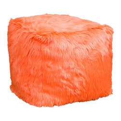 Best Selling Home Decor - Electric Orange Skyler Fur Cube Ottoman Bean Bag - Comfortable and durable, this bean bag ottoman has a faux fur cover and is filled with long-lasting polystyrene beans. They are perfect for a bedroom, home theater rooms, family and game rooms. Color: Various; Materials: Polyester faux fur, polystyrene beans; Weight: 3 pounds; Diameter: 22 inches; Fill: Polystyrene beans; Cover: Cover is double-stitched along all seams and is not removable; also includes hidden stitching and seams; Puncture proof; Care Instructions: Spot Clean; Dimensions: 22 inches high x 22 inches wide x 22 inches deep; Made in the US; Kid friendly
