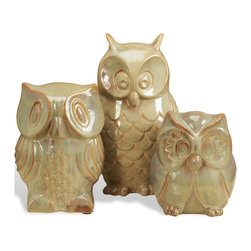 Kathy Kuo Home - Ozen Modern Ceramic Brown Owl Sculpture Trio - If sweet modern ceramics are your weakness, this set is OWL you'll ever need.  These three ceramic owls are perfect as a set or flying solo. 'Whooo' will love this most? Midcentury and vintage fans, we imagine!