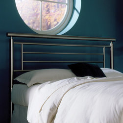 """FBG - Chatham Metal Headboard - What a great Contemporary Bed. This is a great design that just gets better as you review all of it's special features. The headboard has a very pure, natural look, producing a fashionable contemporary design. You can't miss with this bed it's fun for all ages! The plated brushed finish will hold up over time, so as you change your decor, the beauty and brilliance of the finish will still be there shining through to be the focal point of the room. The color finish is a smooth brushed low gloss finish that makes the product shine. Features: -Linens and mattress are not included.-Satin metal finish.-Chatham collection.-Frame Material: Metal.-Upholstered: No.-Powder Coated Finish: No.-Hardware Material: Metal.-Non Toxic: Yes.-Scratch Resistant: No.-Adjustable Height: No.-Lighting Included: No.-Wall Mounted: No.-Reversible: No.-Hardware Finish: Satin.-Finished Back: Yes.-Distressed: No.-Hidden Storage: No.-Freestanding: No.-Frame Required: Yes.-Frame Included: No.-Drill Holes for Frame: Yes.-Frame Compatibility (Size: Queen, King): 420009 Frame.-Frame Compatibility (Size: Full): 420008 Frame.-Swatch Available: No.-Eco-Friendly: No.-Product Care: Wipe with a clean, damp cloth.-Recycled Content: No.Specifications: -EPP Compliant: No.-CPSIA or CPSC Compliant: Yes.-ASTM Certified: No.-ISTA 3A Certified: Yes.-General Conformity Certificate: Yes.-Green Guard Certified: No.Dimensions: -Overall Height - Top to Bottom (Size: Full): 48"""".-Overall Height - Top to Bottom (Size: Queen): 48"""".-Overall Height - Top to Bottom (Size: King): 48"""".-Overall Depth - Front to Back (Size: Full): 2"""".-Overall Depth - Front to Back (Size: Queen): 2"""".-Overall Depth - Front to Back (Size: King): 2"""".-Overall Product Weight (Size: Full, Queen): 25 lbs.-Overall Product Weight (Size: King): 29 lbs.-Top of Headboard to Bed Frame: 33.125"""".-Bottom of Headboard to Floor: 14.875"""".Assembly: -Assembly Required: Yes.-Tools Needed: Tools included.-Additional Parts Required: No.Warr"""