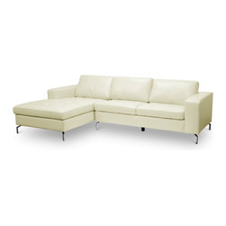 Baxton Studio - Baxton Studio Lazenby Cream Leather Modern Sectional Sofa - Our Lazenby Sectional Sofa is an urban gem: with sleek lines and versatile simplicity, it's an instant winner in our book. The Lazenby Designer Sofa is made in China with a sturdy solid Dahurian Larch wood frame. S-springs and pocket springs underneath polyurethane foam provide comfort while cream bonded leather and chrome-plated steel legs give the contemporary sectional sofa an unmistakable urban appeal. Maintenance is fast and simple: simply wipe the surfaces with a damp cloth before using a dry cloth to wipe away any remaining moisture. The Lazenby Sectional is also available in black leather or as a sofa and loveseat set (each sold separately). Minor Assembly is required