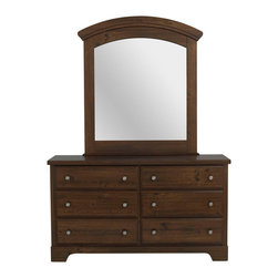 Standard Furniture - Standard Furniture Parker 6-Drawer Dresser with Mirror in Golden Brown Cherry - Parker bedroom offers the perfect solution for rooms that have a smaller footprint, yet still need lots of storage.