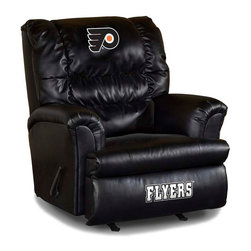 Imperial International - Philadelphia Flyers NHL Big Daddy Leather Recliner - Check out this AWESOME Big Daddy Leather Recliner. It's made especially for the Big and Tall Fan, and is incredibly comfortable. It has a very contemporary design featuring black leather all over the recliner. It will comfortably support up to 350 pounds for many years to come. Each team logo is embroidered and sewn on the center headrest and footrest. This is a true statement piece that is perfect for your Man Cave, Game Room, basement or garage.