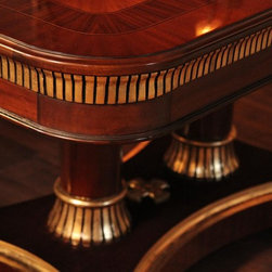 Extra Large King Demure Mahogany Dining Room Table (AP KD 10 22) - Gold leaf accented extra large transitional dining room table made from mahogany solids and Veneers. Corner details and pedestal details under dim to moderate light