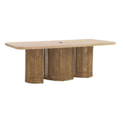 "Lexington - Tommy Bahama Aviano Rectangular Dining Table - Contemporary designs express themselves in simple, yet fluid designs. The two undulating panels create an seamless, open feeling while providing ample support for the weather stone top. The design accommodates the umbrella stand. Table Base: 61-1/2""W x 21-1/2""D x 28-1/2""H. Top: 84""W x 44""D x 1-1/2""H."