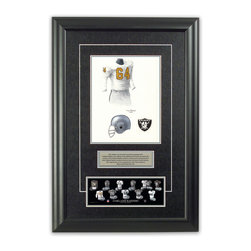 "Heritage Sports Art - Original art of the NFL 1963 Oakland Raiders uniform - This beautifully framed piece features an original piece of watercolor artwork glass-framed in an attractive two inch wide black resin frame with a double mat. The outer dimensions of the framed piece are approximately 17"" wide x 24.5"" high, although the exact size will vary according to the size of the original piece of art. At the core of the framed piece is the actual piece of original artwork as painted by the artist on textured 100% rag, water-marked watercolor paper. In many cases the original artwork has handwritten notes in pencil from the artist. Simply put, this is beautiful, one-of-a-kind artwork. The outer mat is a rich textured black acid-free mat with a decorative inset white v-groove, while the inner mat is a complimentary colored acid-free mat reflecting one of the team's primary colors. The image of this framed piece shows the mat color that we use (Silver). Beneath the artwork is a silver plate with black text describing the original artwork. The text for this piece will read: This original, one-of-a-kind watercolor painting of the 1963 Oakland Raiders uniform is the original artwork that was used in the creation of this Oakland Raiders uniform evolution print and tens of thousands of other Oakland Raiders products that have been sold across North America. This original piece of art was painted by artist Tino Paolini for Maple Leaf Productions Ltd. Beneath the silver plate is a 3"" x 9"" reproduction of a well known, best-selling print that celebrates the history of the team. The print beautifully illustrates the chronological evolution of the team's uniform and shows you how the original art was used in the creation of this print. If you look closely, you will see that the print features the actual artwork being offered for sale. The piece is framed with an extremely high quality framing glass. We have used this glass style for many years with excellent results. We package every piece very carefully in a double layer of bubble wrap and a rigid double-wall cardboard package to avoid breakage at any point during the shipping process, but if damage does occur, we will gladly repair, replace or refund. Please note that all of our products come with a 90 day 100% satisfaction guarantee. Each framed piece also comes with a two page letter signed by Scott Sillcox describing the history behind the art. If there was an extra-special story about your piece of art, that story will be included in the letter. When you receive your framed piece, you should find the letter lightly attached to the front of the framed piece. If you have any questions, at any time, about the actual artwork or about any of the artist's handwritten notes on the artwork, I would love to tell you about them. After placing your order, please click the ""Contact Seller"" button to message me and I will tell you everything I can about your original piece of art. The artists and I spent well over ten years of our lives creating these pieces of original artwork, and in many cases there are stories I can tell you about your actual piece of artwork that might add an extra element of interest in your one-of-a-kind purchase."