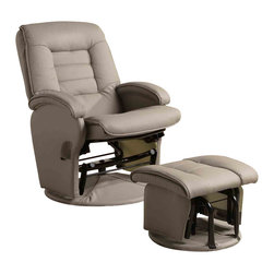 "Adarn Inc - Recliners with Ottomans Leather Like Vinyl Glider with Matching Ottoman - Take home this vinyl glider with matching ottoman for casual seating that suits your living room, media room or den. A double padded seat and seat back is upholstered in taupe leather like vinyl for a matte finish with just a hint of contemporary style. A plush seat surrounds you with supportive comfort and features luxurious extra padding on the headrest and sides. The glider's metal frame and vinyl upholstery contribute to its durable design and ensures a beautiful and long lasting finish for years to come.Ottoman:18""L x 17.5""W x 15""H"