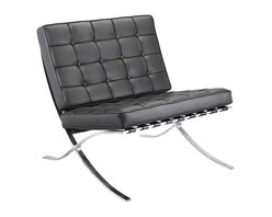 Meelano - M331 Barcelona Lounge Chair in Black Leather - A pinnacle of modern design, this Mies van der Rohe-inspired lounge chair is a design classic. With its sleek stainless steel frame and Italian leather upholstery, the chair is a perfect centerpiece for your living room or office. Let the design speak for itself or try pairing it with a chic minimalist coffee table and accessories.