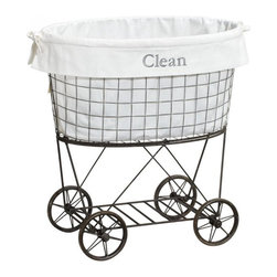 Rolling Wire Hamper & Liner - How cool is this rolling cart? It has the look of an authentic vintage piece.