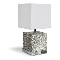 Kathy Kuo Home - Rashida Hollywood Regency Silver Crocodile Square Table Lamp - A petite, cube column lamp gets a regal, reptilian upgrade. Silver crocodile texture covers the base of the timeless table lamp for an adventurous artwork.  Clear acrylic is a beautiful base, balancing the white drum shade with the metallic pedestal.
