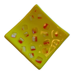 """Vivian Stearns-Kohler/Etoile Creations - Fused glass - Candy corn dish - """"Candy corn"""" fused glass dish in orange and yellow.Can be used for candy, nuts or fancy soaps.  Food safe.  Handwash."""