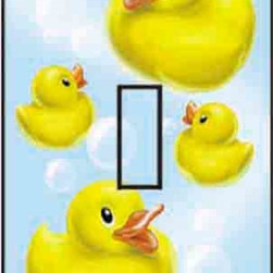IdeaStix - Ducky Single Toggle Peel and Stick Switch Plate Cover - SwitchStix transforms an ordinary switch plate into beautiful art decorations.  Made from proprietary rubber-resin, Premium SwitchStix Peel and Stick Decor offers a quick and easy solution for decorating plain switch plates.  With features like water/heat/steam-resistant, nontoxic, washable, removable and reusable, it is ideal for any room in the house or office.  SwitchStix fits standard size switch plates and applies right over the switch plate and it even covers the screw holes.  Suitable for standard size non-porous and smooth switch plates.  Discard mid-section for toggle switch placement.  Surface can be washed with most household cleaning products.