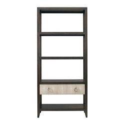 Lillian August - Lillian August Breuer Etagere LA97351-01 - This breuer lighted etagere features a shagreen drawer front with a polished silver ring pull, glass insert sationary wood shelves, and and a rich deep brown wood finish.