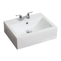 American Imaginations - 20.5-in. W x 16-in. D Above Counter Rectangle Vessel - It features a rectangle shape. This vessel is designed to be installed as an above counter vessel. It is constructed with ceramic. It is designed for a 4-in. o.c. faucet. The top features a 0.75-in. profile thickness. This vessel comes with a enamel glaze finish in White color. Above counter white ceramic rectangle vessel features an overflow This Vessel features Chrome hardware. Double fired and glazed for durability and stain resistance. Quality control approved in Canada and re-inspected prior to shipping your order. Faucet and accessories not included.