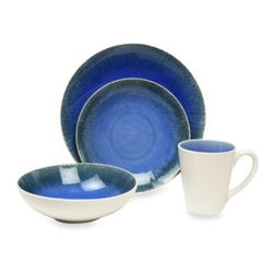 Baum - Baum Fused Crackle 16-Piece Dinnerware Set in Blue - This vibrant dinner set in a handsome shade of blue will provide a pop of color to your table.