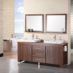 Design Element - Design Element Altima 72-inch Double Sink Bathroom Vanity Set - Modern and chic,this Dec Altima bathroom vanity set features an eye catching toffee finish. An included sink and mirror complete this bathroom vanity set.