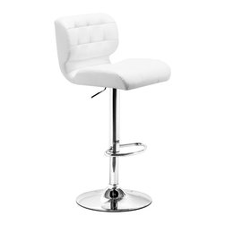 ZUO MODERN - Formula Barstool White - Soft and comfy, the Formula Barstool provides smart looking seating for any counter and bar.  It has a leatherette seat and chrome height adjustable swivel base.