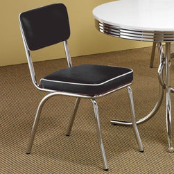 Coaster - Cleveland Side Chair - Set of 2 - Set of 2. Casual style. Chrome plated frame. Black cushioned seat and padded back upholstery. Made from metal. 21 in. W x 17 in. D x 35 in. H. WarrantyCreate a relaxed yet distinctive look in your home with the retro designs of this side dining chair.