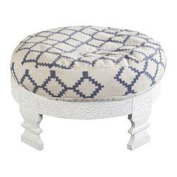 Tallula Hand Woven Cotton / Wooden Frame Ottoman - Tallula Ottoman