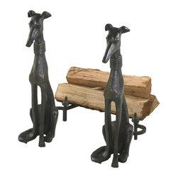 Bronze Cast Iron Dog Andirons - *Dog Andirons.