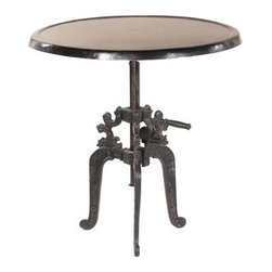 YOSEMITE HOME DECOR - Adjustable Bistro Table - This adjustable height bistro/pub table brings fun to any space. Just turn the crank to watch the solid metal top adjusts in height from 30inches-42inches, all while sitting upon a sturdy cast iron tri-leg base. Indoor/Outdoor application Dry Climate suggested for Outdoor Use. Lubricate with graphite-do not use oil. Made in India.  Item Dimension are 36inches Widht X 36inches Depth X 41inches Height.