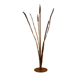 Patina Products - Cattails Outdoor Metal Sculpture Multicolor - S660 - Shop for Statues and Sculptures from Hayneedle.com! Bring warmth and rustic charm to your outdoor decor with the Cattails Outdoor Metal Sculpture. Crafted from metal for longevity and durability this sculpture brings to mind images of wild rivers and the great outdoors. Measuring 9W x 9D x 42H inches you'll love they way this sculpture looks on your patio or front porch.About Patina ProductsWith headquarters on the central coast of California where warm days and cool nights make outdoor patio living second nature Patina Products takes pride in its art and offers the finest in outdoor living accessories with a gorgeous natural patina finish.Since 2001 Patina Products has been warming up gardens outdoor rooms and patios with its impressive line of unique fire pits and other products. They use specially designed CNC (computer numeric control) plasma cutters to cut virtually any logo or brand into the side of a custom fire pit. The company designs its fresh original line of garden art in its studio overlooking the Pacific Ocean. The business began as an evolution. After 15 years in the pharmaceutical industry the owners of Patina Products knew two things: how to run a successful business and that they wanted a more creative outlet to express their love of outdoors and home decor.With beautiful decor items from Patina Products your patio will become your favorite room of your house.