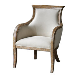 Uttermost - Quintus Linen Armchair - Looking like it is from the eighteenth century, this chair is almost too beautiful to sit on. But don't worry, the linen fabric has been treated with Teflon(r) so any little mishaps won't cause you to lose your head. The almond stained, distressed white mahogany has an antiqued, toffee crackle, which brings out the richness of the wood. The graceful rounded arms offer support and style.