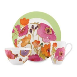 Lenox - Lenox Floral Fusion Kiwi 4-Piece Place Setting - Big, bold blooms in shades of orange, fuschia, and purple dance across this white porcelain dinnerware. The pattern is fresh and fun, and will appeal to your artistic side.