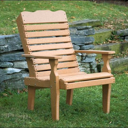 Fifthroom - Poly Lumber Curveback Chair - If you're looking for something a little more substantial than many patio chairs, but a bit less dramatic than an Adirondack chair... you've met Mr. Happy Middle.  With a subtle width in the back and nice wide armrests, it cuts a more conservative profile to create a wonderful patio chair!