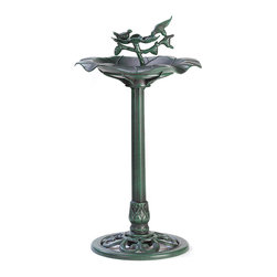 KOOLEKOO - Verdigris Birdbath - Enjoy the sight and sounds of your feathered friends as they dip into the crystal waters of this graceful sculpted birdbath! This handsome focal piece is an ideal centerpiece for any garden!