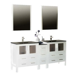 "Fresca - Fresca Torino 72"" Modern Double Sink Bathroom Vanity w/ One Side Cabinet & Two I - Fresca is pleased to usher in a new age of customization with the introduction of its Torino line. The frosted glass panels of the doors balance out the sleek and modern lines of Torino, making it fit perfectly in either Town or Country dcor."