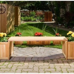 All Things Cedar 3 Piece Planter Bench Set - A beautiful focal point for any patio or garden, the All Things Cedar 3 Piece Planter Bench Set shows off your favorite flowers while giving you a comfortable place to sit and rest. Made from clear grade Western Red Cedar, this beautiful bench is naturally resistant to rot, decay, and insects. Unfinished, you'll love the natural beauty of the cedar, or you can finish or paint it to match your decor. Its handcrafted design creates a snug fitting joinery for longevity so you know that this bench will last. Featuring hardwood doweling and pre-drilled holes, this bench also has fully routed edges for clean lines and a uniform appearance. Rust-resistant hardware adds to the beauty and durability of this bench. A planter box on each side is the ideal place to show off your creativity and your love of flowers. Add a splash of color with bright flowers and beautiful green plants and enjoy the restful retreat you've created. Additional Features Features hardwood doweling and pre-drilled holes Routed edges for clean lines, uniform appearance Rust-resistant hardware Naturally resistant to rot, insects, and decay Features a planter box on each endAbout All Things Cedar A world leader in fine patio furniture, garden furniture, and other accessories, All Things Cedar is a smart choice for your outdoor needs. They offer an extensive line of unique items made from high-quality, weather-resistant woods, including clear-grade cedar, teak, and more. Their items are designed with care in timeless fashions that are sure to enhance your space. All Things Cedar prides themselves on fine customer service and dependable products.