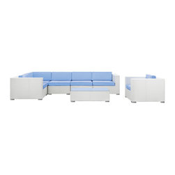 Modway Furniture - Modway Corona 7 Piece Sectional Set in White Light Blue - 7 Piece Sectional Set in White Light Blue belongs to Corona Collection by Modway Stages of sensitivity flow naturally with Corona's robust seating experience. Find meaning among cliffs and caverns as you become the agent of influence in the white rattan base and all-weather light blue fabric cushion repast. Open yourself to splendorous insights as you impart positivity among friends and family. Set Includes: One - Corona Outdoor Wicker Patio Armchair One - Corona Outdoor Wicker Patio Coffee Table One - Corona Outdoor Wicker Patio Corner Section One - Corona Outdoor Wicker Patio Left End Section One - Corona Outdoor Wicker Patio Right End Section Two - Corona Outdoor Wicker Patio Armless Sections Armchair (1), Coffee Table (1) , Corner Section (1), Left End Section (1), Right End Section (1), Armless Section (1)