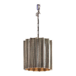 Kathy Kuo Home - Waverly Scalloped Hammered Global Rustic Antique Silver Pendant - What a great style mash up this pendant creates - the earthy sophistication of hammered silver metal meets the formality of scalloped edges and a gold interior.  The result is a strong statement of modern style, perfect for mid century, contemporary and even global bazaar inspired rooms.