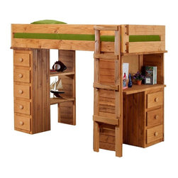 Chelsea Home - Twin Student Loft Bed - NOTE: ivgStores DOES NOT offer assembly on loft beds or bunk beds.. Includes slat packs, desk with three drawers and chest ends with five drawers. Mattresses not included. Rustic style. Two storage shelves. Wooden ladder. Metal brackets are used to connect the rails to the headboard and footboard. Rails with 1.25 in. cleat which is glued and screwed to the rail for extra strength to support the mattress foundation. Drawers mounted on a rolling metal glide for easy opening and closing. Exceed all safety standards of the consumer product safety commission. Constructed for strength and durability. Can hold up to 400 lbs. of distributed weight. Warranty: One year. Made from solid pine wood. Ginger stain finish. Made in USA. Assembly required. Distance from floor and bottom of top bunk: 49 in.. Drawer: 12 in. W x 9.5 in. D x 4.5 in. H. Overall: 80 in. L x 47 in. W x 62 in. H (300 lbs.). Bunk Bed Warning. Please read before purchase.Warning: Falling hazard, bunk beds should be used by children 6 years of age and older!