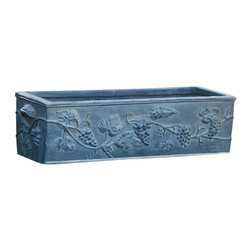 Ladybug - Winterthur Hen Feathers Planter in Gray Finis - Winterthur Collection. Weather resistant finish. 1-Year warranty. Made in USA. Made of pecan shell resin. 26 in. W x 10 in. D x 8 in. H (14 lbs.)The finishes are applied by hand, enhancing every detail, and resulting in the uniqueness of no two pieces being exactly alike. Each individually hand-crafted piece of Ladybug product is cast in a crushed marble or resin composition which has the ability to capture and reproduce the same definition and minute detail as the original. It is a substantial, non-porous material which does not absorb moisture, making it ideal for outdoor use, although it offers the strength and durability required to endure even extreme weather conditions.
