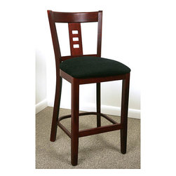 None - Dark Mahogany Film Back Counter Stool - Film back counter stool boasts a mahogany finishDining and bar furniture features black microfiber upholsteryEnhance your home decor with this classic bar stool