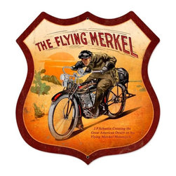 Past Time Signs - Flying Merkel Shield Tin Sign 28 x 28 Inches - - Width: 28 Inches